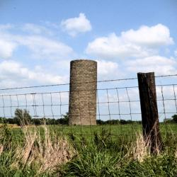 Grain silo in field